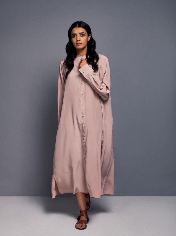 EPIPHANY - Cuffed long shirt dress with buttons