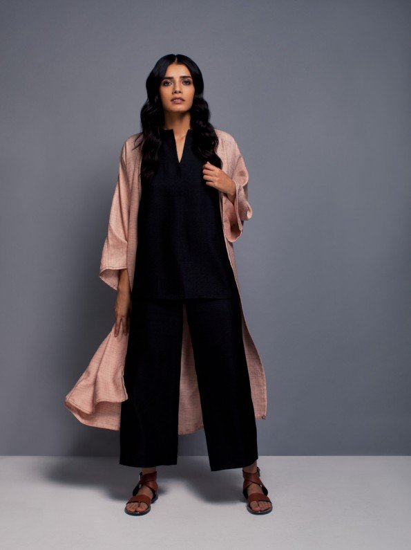 EPIPHANY - Cap sleeved top with zippered highwaist flared pants and throw on jacket / relaxed fit