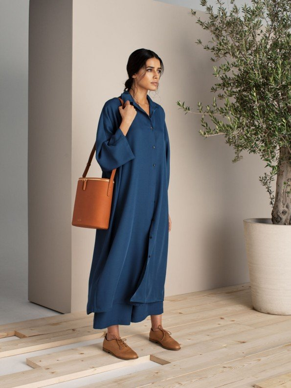 EPIPHANY - Maxi button down shirt/dress with high-waisted zippered loose pants