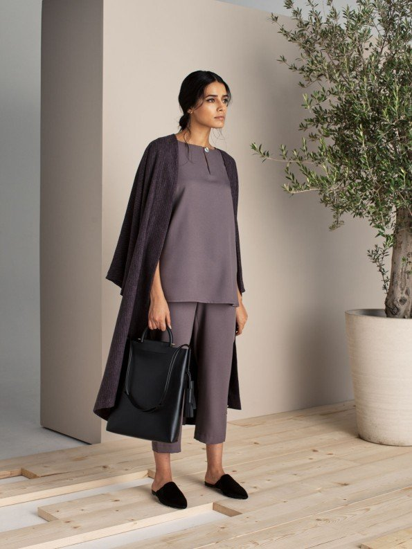 EPIPHANY - Cap sleeved buttoned top with zippered highwaist loose pants & sweater coat / relaxed fit