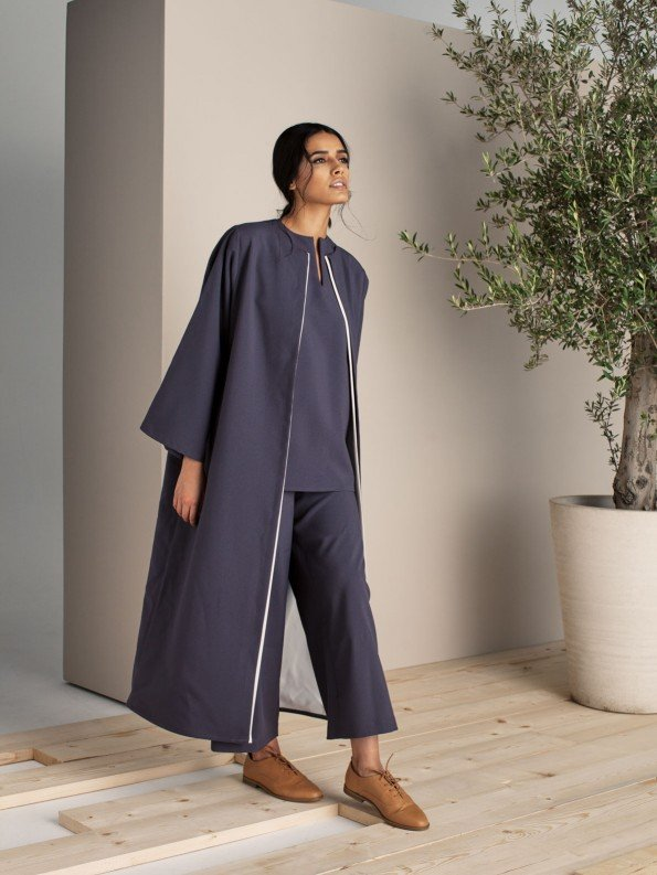 EPIPHANY - Cap sleeved top with zippered highwaist loose pants and throw on jacket / relaxed fit