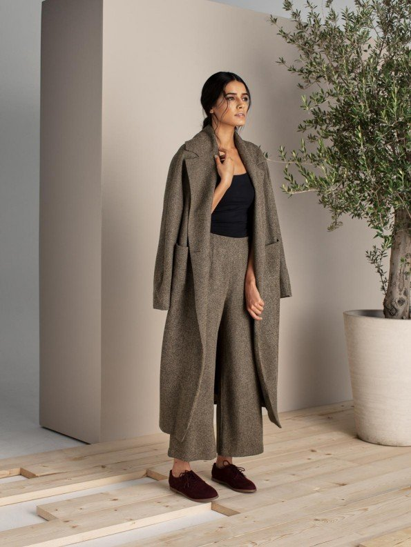 EPIPHANY - 3/4 length coat jacket with pockets and high-waisted elasticated pants